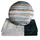 Star Planet Plush Pillow Blanket 2 in 1 Glow in The Dark Blanket for Kids Premium Super Soft Space Gifts for Baby Astronaut Gray Travel Throw Blanket 40' x 60'