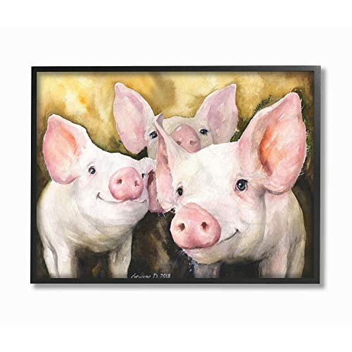 Stupell Industries Baby Pigs Animal Yellow Watercolor Painting Black Framed Wall Art, 11 x 14, Multi-Color