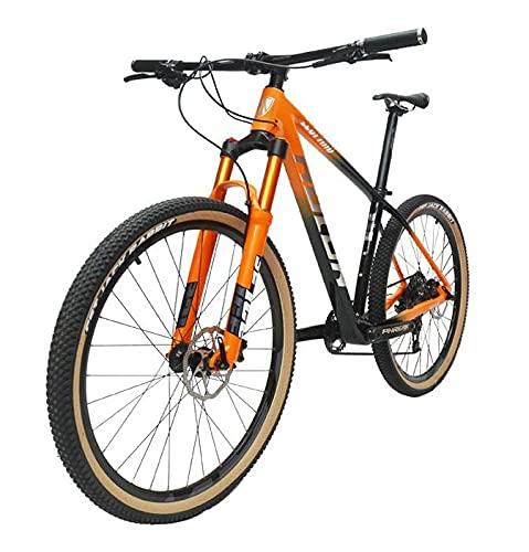 ASEDF Bicicleta de montaña de Carbono Ligero, 27.5/29 Pulgadas 12 Velocidad MTB MTB Mountain Bike Hydraulic Disc Freno Fibra de Carbono Bicicleta de montaña orange-27.5in*17in
