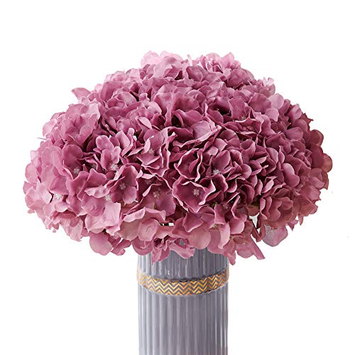 Atinart Mauve Artificial Flowers Hydrangea Silk Flowers Big Artificial Hydrangea Flowers Heads Pack of 10 for Home Wedding Party Shop Baby Shower Bridal Shower Bouquets Table Centerpiece Decor