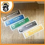 JoeMonkey Adesivi per Raccolta Differenziata per bidoni Riciclaggio rifiuti, Etichette riciclo, 5 pz. Mis. 150x40 mm (Italiano e Inglese)