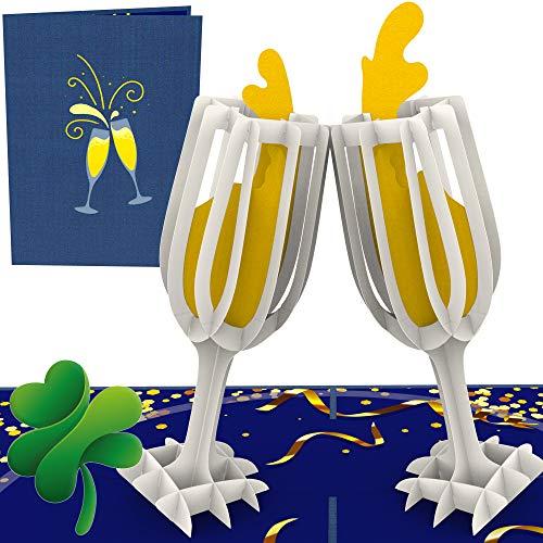 Nieuwjaarskaart 2020 3D pop-up kaart met champagneglas & champagne voor het nieuwe jaar 2020 - Happy New Year - Alles goed voor het nieuwjaar - Veel geluk - wenskaart Nieuwjaar oudejaarskaart