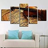 NR 5 Piezas de violín y partitura Musical decoración Moderna para el hogar imágenes modulares para Sala de Estar HD Pintura de Lienzo Arte de Pared Carteles
