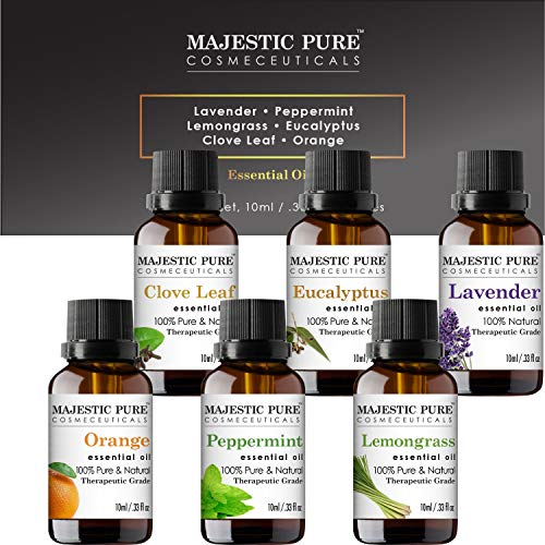 MAJESTIC PURE Aromatherapy Essential Oils Set, Includes Lavender, Peppermint, Lemongrass, Orange, Eucalyptus