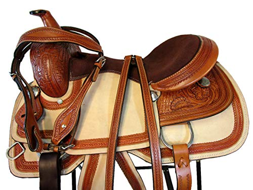 15 16 17 Floral Tooled Leather Horse Trail Pleasure Ranch Roper Roping Western Saddle (16 Inch)