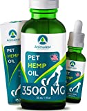 Hemp Oil for Dogs and Cats - 3500Mg - Separation Anxiety, Stress, Sleep, Tension - Immune System Boost, Increase Hip & Joint Mobility, Relief Arthritis - Omega 3,6,9 Vitamins - Calming Treats for Dogs