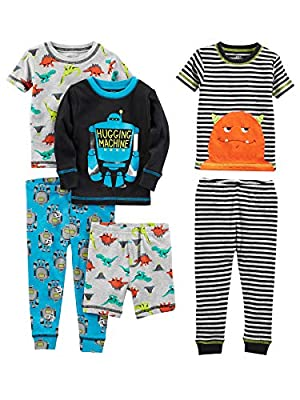 Simple Joys by Carter's Baby Boys' Toddler 6-Piece Snug Fit Cotton Pajama Set, Monster/Dino, 2T