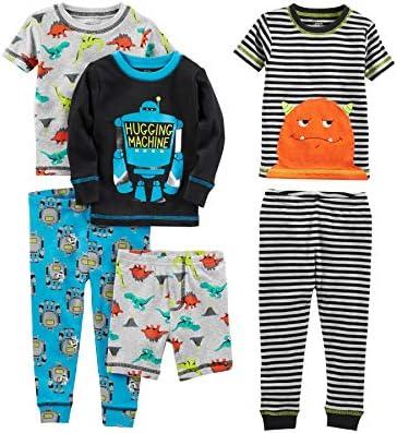 Simple Joys by Carter s Boys Little Kid 6 Piece Snug Fit Cotton Pajama Set Monster Dino 7 product image