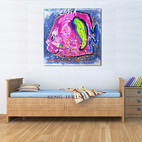 Pittura a Olio Anime del Fumetto Pittura a Olio Animale di Pesce d\'oro di Alta qualità Dipinta a Mano su Tela Pittura a Olio di Pesce d\'oro Fatta a-60x60CM_KH2