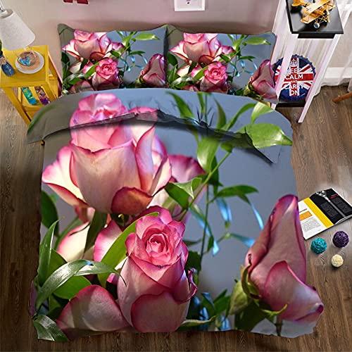 Juego de Ropa de Cama Textiles para el hogar de Lujo Funda de edredón Grande King y Funda de Almohada impresión 3D Ropa de Cama de Flores abstractas 220x240cm B-4