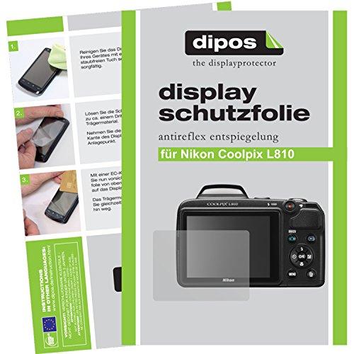 2 x Dipos Protector de pantalla antirreflectante compatible con Nikon Coolpix L810