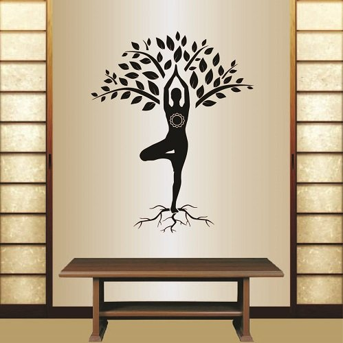 Wall Vinyl Decal Home Decor Art Sticker Yoga Tree Pose Girl Woman Exercise Meditation Relax Fitness Room Removable Stylish Mural Unique Desig