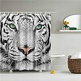 Fansu Duschvorhang Anti-Schimmel, 3D Drucken 100prozent Polyester Bad Vorhang Wasserdicht Anti-Bakteriell mit C-Form Kunststoff Haken mit 12 Ringe für Badzimmer (Weißer Tiger,165x180cm)