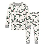 Burt's Bees Baby Baby Girl's Pajamas, Tee and Pant 2-Piece PJ Set, 100% Organic Cotton, Happy Holly, 18 Months