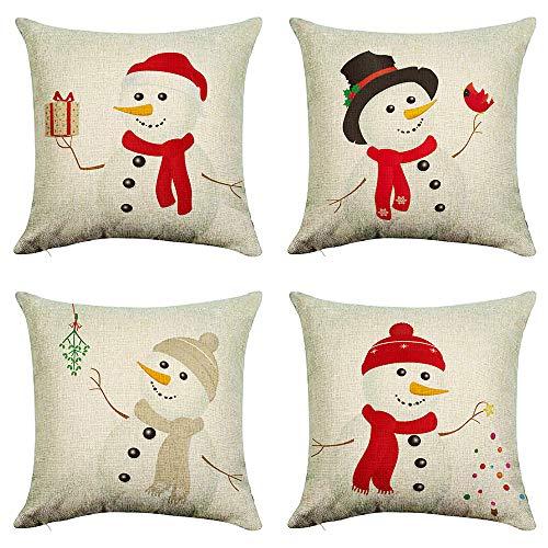 Fundas de almohada para exteriores, silichee, muñeco de nieve, árbol de Navidad, juego de 4 fundas de cojín decorativas de invierno para sofá, dormitorio, sala de estar, interior y exterior