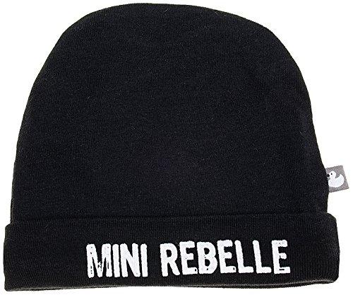 BB&Co Mini Rebelle Bonnet Doublé en Pur Coton Noir