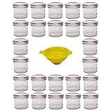 Viva Haushaltswaren G1130125/24T/argento/X - Vasetti per marmellata Piccoli con Tappo, 24 Pezzi, capacità: 125 ml, Imbuto Incluso, Chiusura ermetica, Colore Tappo: Bianco, Colore Imbuto: Giallo