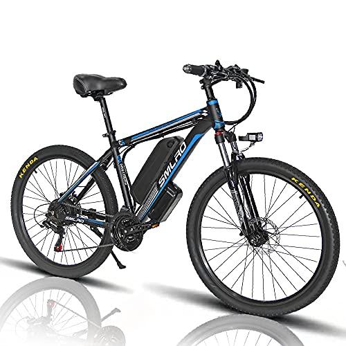 Bicicleta Eléctrica de Montaña, 26 Pulgadas, 1000 W, con Batería de Litio Extraíble de 48 V y 13 Ah y Shimano de 21 Velocidades [EU Warehouse],Blue