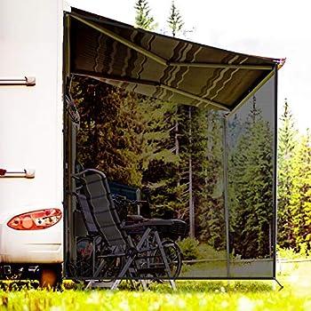RVINGPRO RV Awning Side Shade 9  X 7  Black Mesh Sunshade for Camper Trailer Canopy UV Sun Blocker Complete Kits