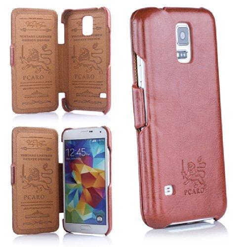 PCARO Echtleder Tasche Für Samsung Galaxy S5 & S5 LTE Ledertasche Schutzhülle Cover Wallet Case Hülle Etui OHNE Magnet KEIN Empfang STÖRENDER Magnet in Braun