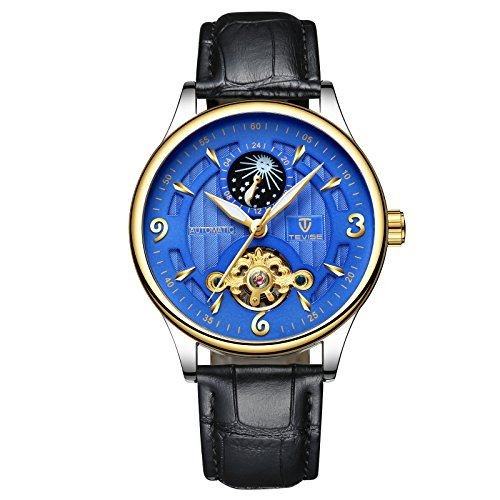 Swiss Hollow Tourbillon Fully Automatic Mechanical Watch Moon Phase Men's Waterproof Watch (Gold-Blue)