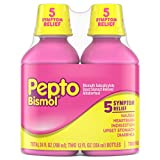 Pepto Bismol Liquid, 2 Pack of 12 fl oz, Original Flavor, for Relief of Gas, Anti Diarrhea, Heartburn, Nausea, Upset Stomach, and Indigestion (24 oz. Total)