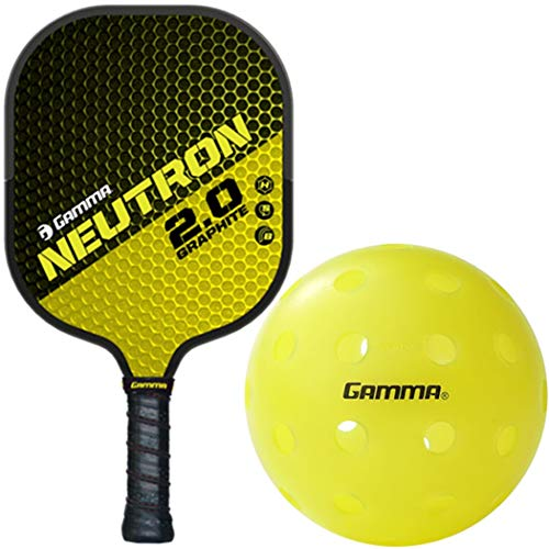 Gamma Neutron 2.0 Black/Yellow Graphite and Nomex Honeycomb Pickleball Paddle Kit or Set Bundled with Box of (3) Photon Outdoor Pickleballs (Best Pickleball Paddle for Spin)