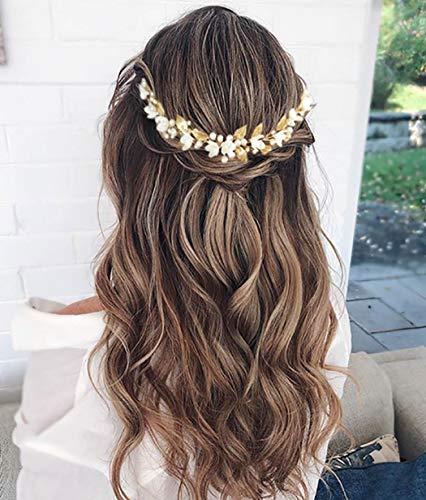 Unicra oro boda perla pelo vides flor hoja tocados boda accesorios para el cabello para la novia