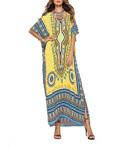FSMO Damen-Kimono, übergroß, Maxi, Ethno-Print, Bikini-Überwurf, Strand, Kaftan-Kleid Gr. OneSize, gelb