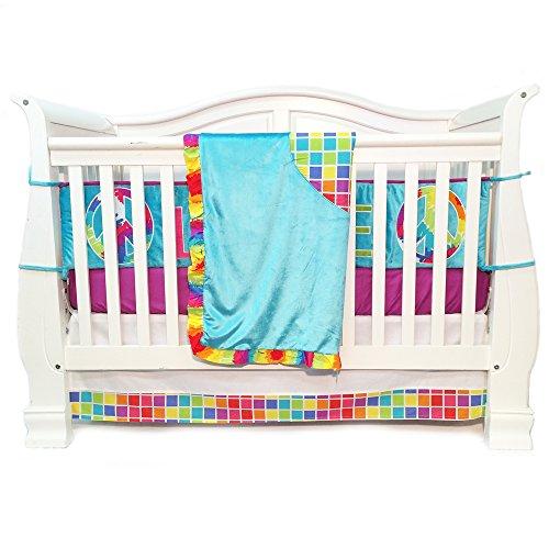One Grace Place Terrific Tie Dye Infant Crib Bedding Set, Aqua Blue/Royal Blue/Purple, 4 Piece