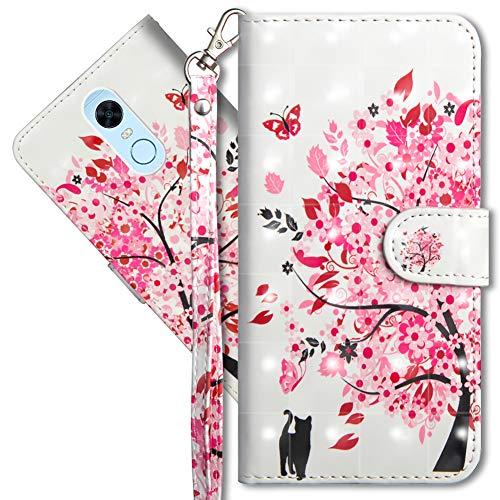 MRSTER Funda para Xiaomi Redmi 5 Plus, 3D Brillos Carcasa Libro Flip Case Antigolpes Cartera PU Cuero Funda con Soporte para Xiaomi Redmi 5 Plus. YX 3D Tree Cat