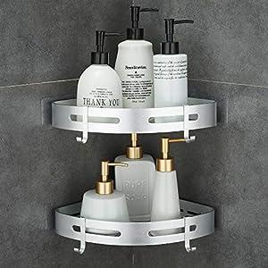 GERUIKE Baño Estante Prevención de Herrumbre Estante Ducha Sin Taladro para Champú y Gel De Ducha Estantes de Pared Cesta Aluminio 2 Niveles Plata Triángulo