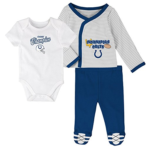 NFL Newborn Future Champ 3 Piece Onesie, Shirt and Pants Set, Indianapolis Colts, Speed Blue, 3 Months