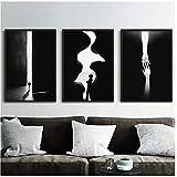Cuadro en lienzo Cuadro blanco y negro moderno Decoración para el hogar Impresiones nórdicas del arte de la pared Carteles abstractos minimalistas para sala de estar 50cmx70cmx3pcsEnmarcado
