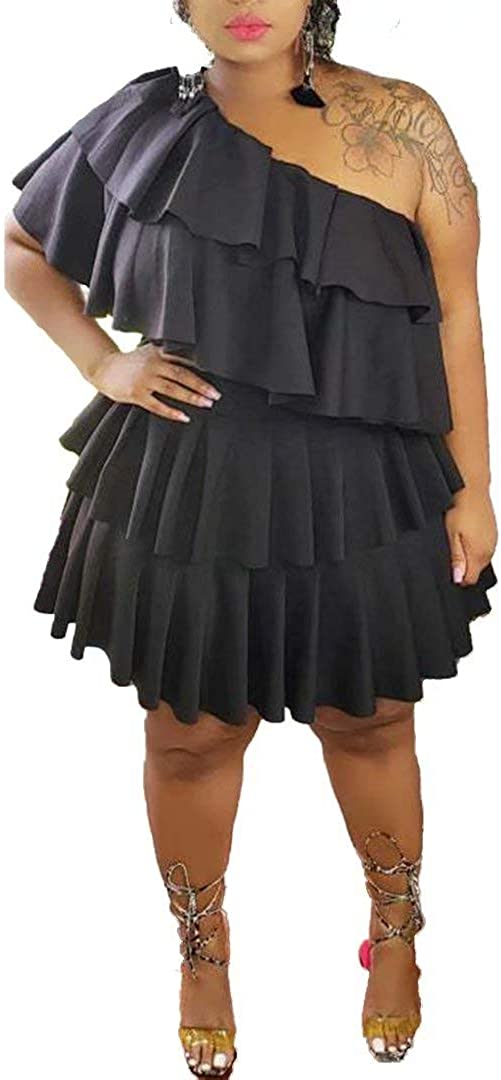 Women's Sexy Plus Size One Off Shoulder Ruffle Layered Bodycon Party Club Dress
