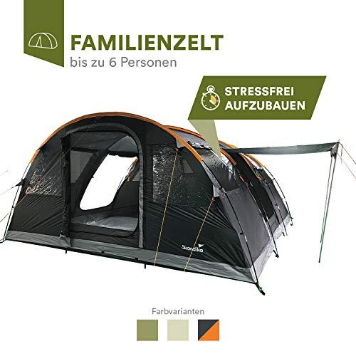 skandika Gotland 6 - Tente familiale Tunnel - 6 Personnes - 540 x 450 cm (Gris/Orange)