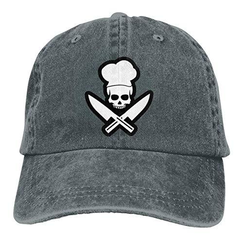 FUGVO Skull Chef Unisex Verstellbare Baseballmützen Denim Hüte Cowboy Sport Trucker Hut Vintage Dad Hut Deep Heather