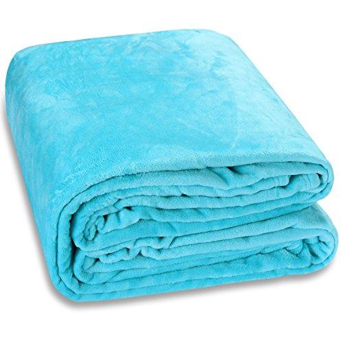 Deuba Monzana® Plaid Premium Bleu 240x220cm - Différentes Tailles et Couleurs - Couverture de lit en Microfibre