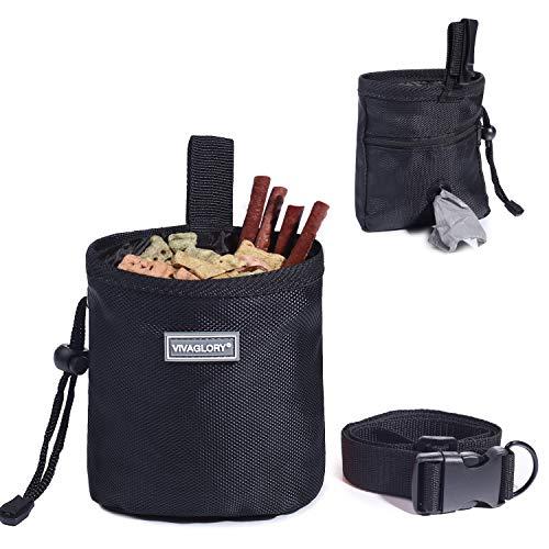 VIVAGLORY Futterbeutel für Hunde, Futtertasche für Leckerli für das Hundetraining, mit Kotbeutelspender und verstellbarem Gürtel, Hundefuttertasche auf 2 Arten tragbar, Schwarz