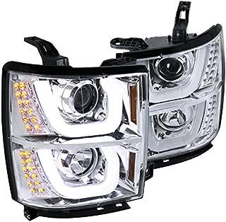 Spec-D Tuning 2LHP-SIV14-TM Chevy Silverado 1500 Pickup Chrome Dual Halo LED Signal Projector Headlights