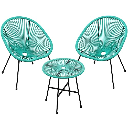 SONGMICS Gartenmöbel-Set, 3er-Set,Garten-Sitzgruppe,Lounge-Set aus Polyrattan, Tisch mit Glasplatte und 2 Stühle,Innen-undAußenbereich,türkisblauGGF013C01