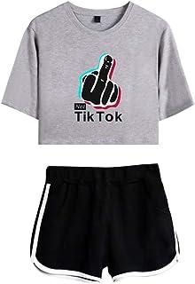 Landove TIK Tok Tracksuit Two Piece Women Crop Top and Short Set C02285TXDK