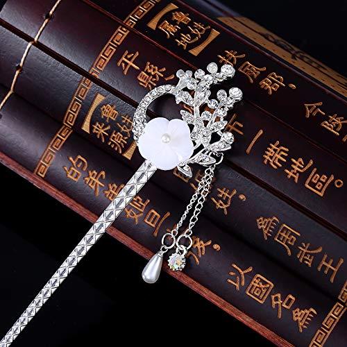 El otro lado de la flor retro tocado paso cabello accesorios para el cabello borla tiara de pelo estilo antiguo horquilla Hanfu adornos para el cabello corte clásica Fengqiu Huang