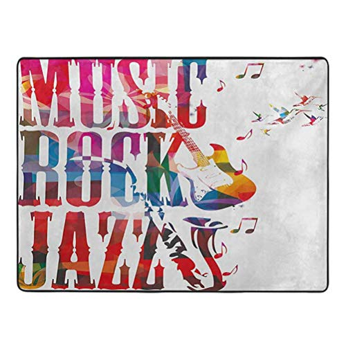 Musical Print Area Rug Music Rock Jazz Lettering with Bass Guitar Saxophone Notes Harmony Illustration Anti-Slip Home Decor Rugs 3' x 5' Multicolor