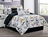 Sapphire Home 7 Piece King Comforter Set with Shams Bedskirt Cushions, Paris Eiffel Tower Theme Bed Cover Bed in a Bag, Black White Gold, 7pc Comforter King Paris Black/Gold