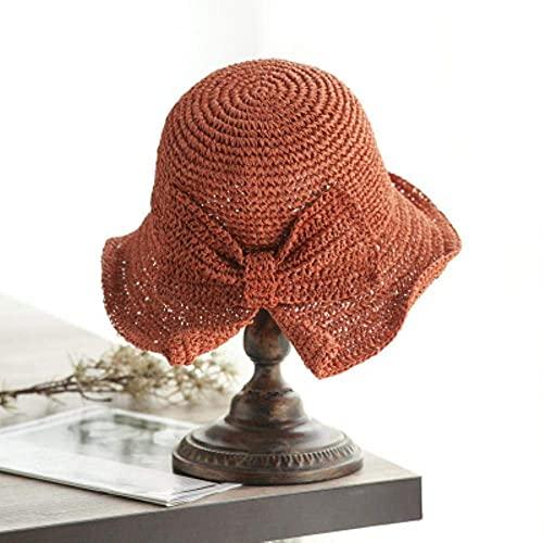 YSWG Sombrero de Verano señoras Verano Mujer Sombrero Estilo Corea Sol Sombrero de Sol lafita Paja al Borde de la Playa Pescador's Plegable Playa Viaje Ocio Sombrero (Color : Orange, Size : One Size)