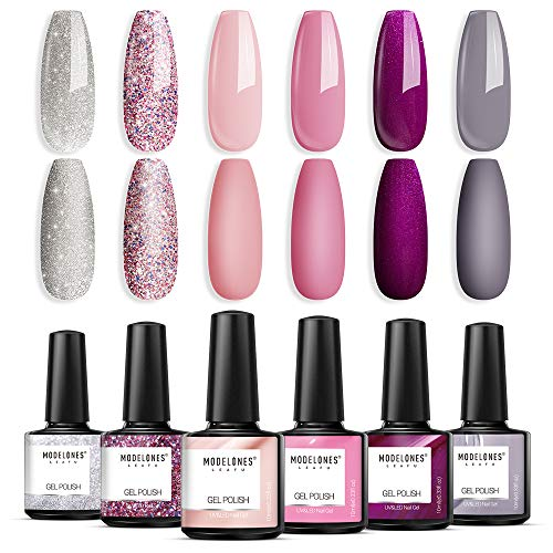 Modelones Gel Nail Polish Kit, 6 Colors 10 ml Soak Off Nail Gel Polish Set, Pink Purple Gray Beige Silver Sparkle Polish Gel Kit, DIY Nail Manicure Kit in Gift Box for Beginners and Art Salon