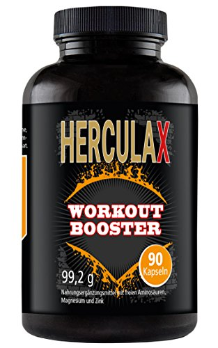 HERCULAX Muscle Booster Capsules | Explosive increase in muscle mass and power | High dosage amino acids supplement: leucine, bcaa, l-arginine | Natural fat burner | Protein supplement | High in Zinc