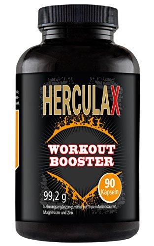 HERCULAX - Extremer Booster | L-Arginin, BCAA Aminosäuren hochdosiert zur Unterstützung von Muskelwachstum, Muskelaufbau | schnell Muskel aufbauen (90 Kapseln)