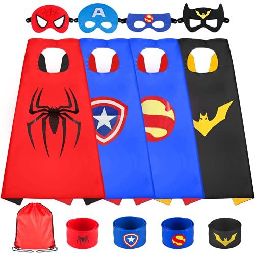 Sinoeem Superhelden Kostüm Kinder 6 Stücke Spielzeug Kostüm mit Maske mit Schnapparmband ab 3-12 Jahren Kinderkleidung Junge Mädchen Geschenke für Kindergeburtstag, Halloween oder Karneva (4 Packs)
